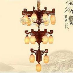 红木云石灯 红木吊灯 花梨木灯具 红木灯饰图片