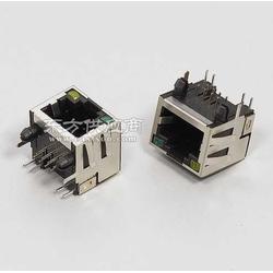 RJ45屏蔽90度带灯带弹片插座图片