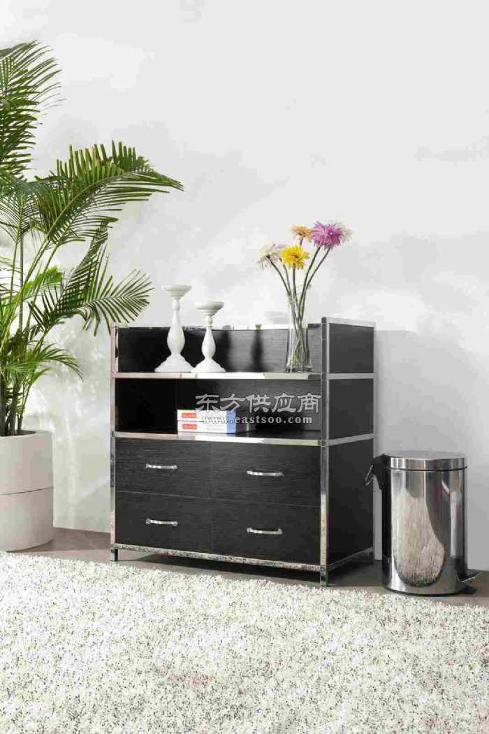 欧式时尚组合型双层不锈钢茶水柜餐边柜图片