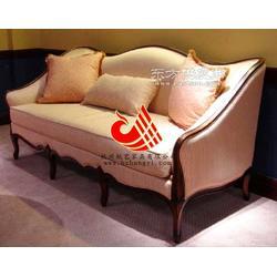 休闲会所实木沙发 简欧风格夜总会布艺沙发图片