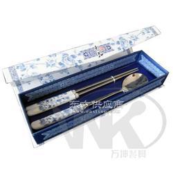 青花礼品餐具不锈钢青花柄勺筷/商务礼品图片