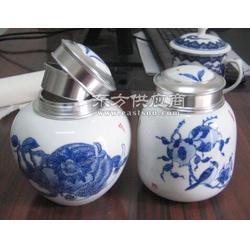 青花螺旋陶瓷茶叶罐,生产茶叶包装罐厂,茶叶罐定做图片