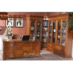 定做橡木歐式轉角書柜 定做純實木美式書柜圖片