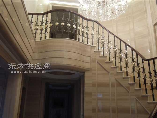 铁艺楼梯 简欧铁艺立柱搭配实木扶手批发图片