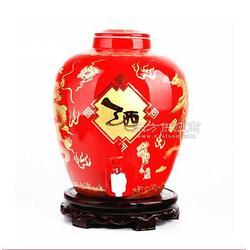 中国红描金陶瓷酒坛图片