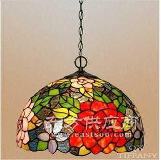 蒂凡尼吊灯 双色玫瑰红色 餐吊灯 12寸彩玻欧式艺术