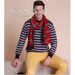 褐灰白条纹羊绒衫图片
