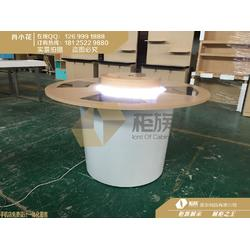 圆形华为3.5中岛展台木纹3.5款体验台生产厂家图片
