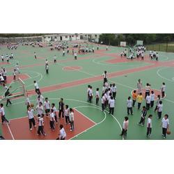 潍坊硅PU球场,塑胶硅PU球场施工,硅PU球场网球场施工图片