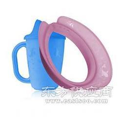高品质美国品牌儿童蓝色杯子套装配粉红色洗头帽图片