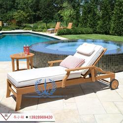 户外实木躺椅 室外阳台休闲木质折叠躺床 露天酒店泳池沙滩椅图片