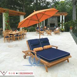 户外双人午休折叠躺椅躺床 实木靠椅沙滩泳池椅子阳台庭院休闲椅图片