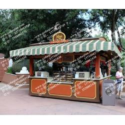 防腐木售货车 实木可移动 木质售货车防雨售货亭步行街景点售货车图片
