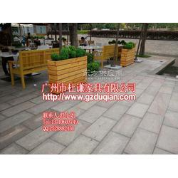 商业街带坐凳花箱,围墙式花槽,户外木花槽图片