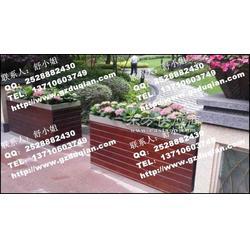 城市道路环保绿化花箱 实木炭化防腐花槽图片