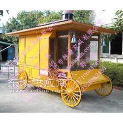 广场售货车,实木移动售卖亭图片