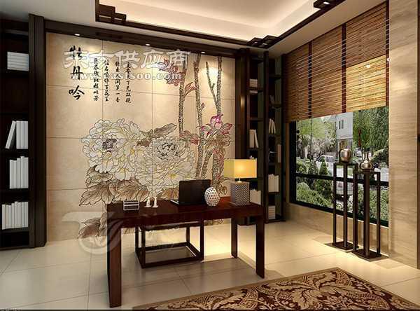 陶瓷彩雕背墙床头背景墙图片