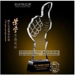 荣誉大拇指水晶奖杯 销售进步奖水晶奖杯 房地产公司水晶奖杯定做图片