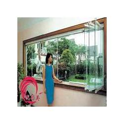 无框阳台玻璃窗双扇折叠钢化玻璃封阳台图片