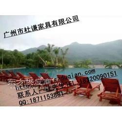 泳池木躺椅户外木制沙滩椅图片