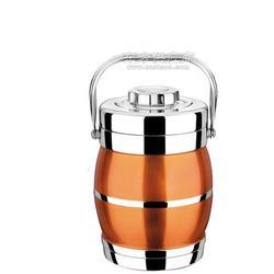 供应奔展1.8L鼓形不锈钢保温提锅荧光橙彩色饭桶图片