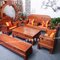 明清仿古家具 实木南榆木沙发 中式客厅财源滚滚沙发组合图片