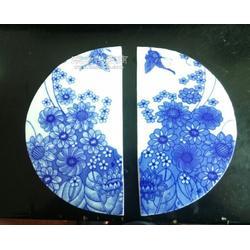 镶嵌青花半圆瓷砖定制工厂图片