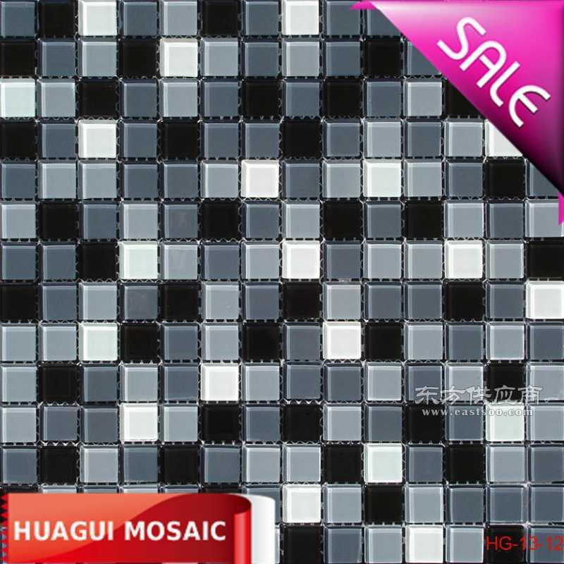 2公分黑白灰色厨房水晶玻璃马赛克瓷砖背景墙装修