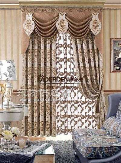 窗帘布艺品牌加盟 欧式卧室窗帘品牌雪尼尔定做价格