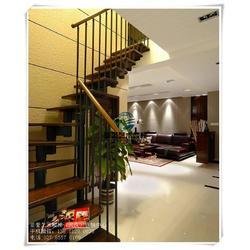 商铺店铺钢木楼梯_黄陂钢木楼梯_武汉成品钢木楼梯图片