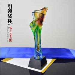 上市公司年会员工荣誉奖杯 5周年数字纪念杯琉璃工艺品图片
