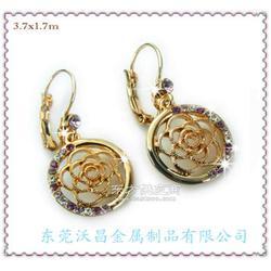 锌合金镶奥地利水钻玫瑰花耳饰锌合金饰品加工厂图片