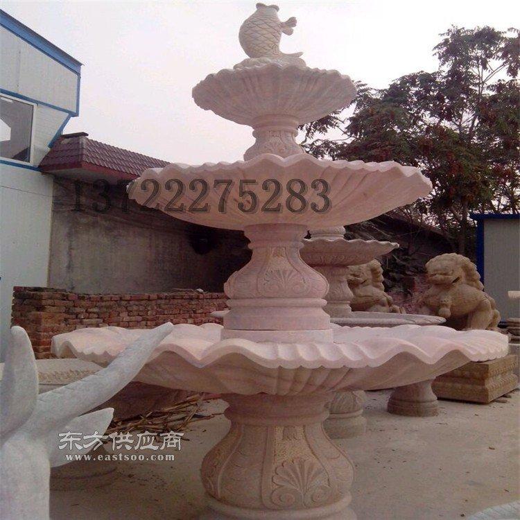 石雕欧式雕塑 黄锈石石材雕刻水景跌水钵流水喷泉