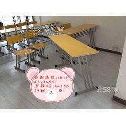厂家专业出售学生课桌椅优质多层板教学课桌椅双人辅导课桌椅图片